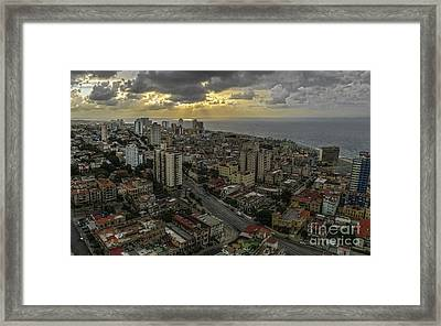 Vedado Havana City Sunset Framed Print