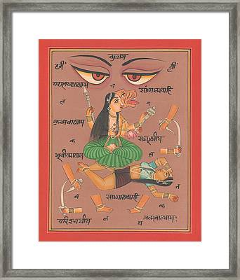 Vedic Artwork Hindu Goddess Durga Miniature Painting India Handmade Aertwork Framed Print by A K Mundhra