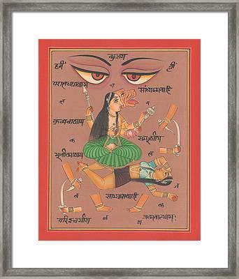 Vedic Artwork Hindu Goddess Durga Miniature Painting India Handmade Aertwork Framed Print