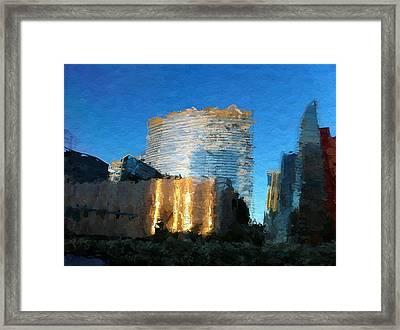 Vegas Aria Skyline Framed Print by Lin Pacific