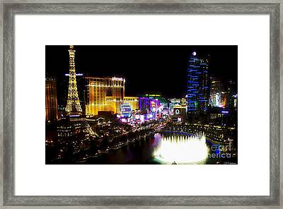 Vegas At Night Framed Print by Barbara Chichester