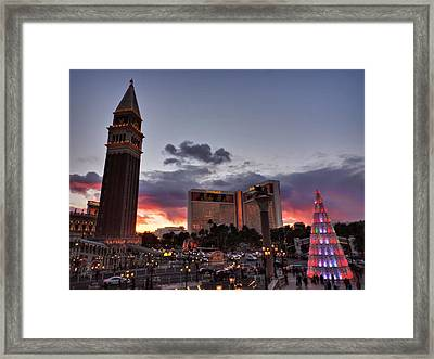 Vegas Christmas Sunset 001 Framed Print by Lance Vaughn