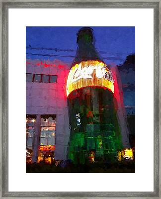 Vegas Coca Cola Building Framed Print by Lin Pacific