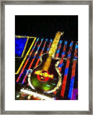 Vegas Hard Rock Cafe Framed Print by Lin Pacific