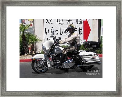 Vegas Motorcycle Cop Framed Print