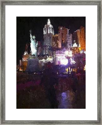 Vegas New York New York Hotel Framed Print by Lin Pacific