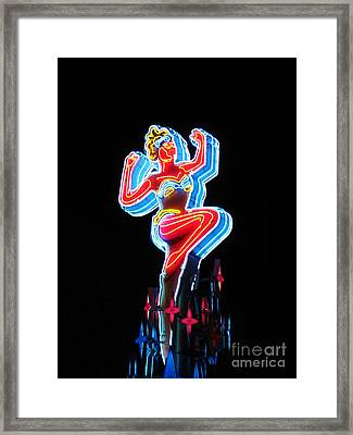 Vegas Show Girl Sign Framed Print by John Malone