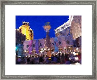 Vegas Venetian Casino Framed Print by Lin Pacific