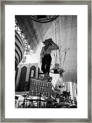 vegas vic cowboy sign at the freemont street experience during the day Las Vegas Nevada USA Framed Print