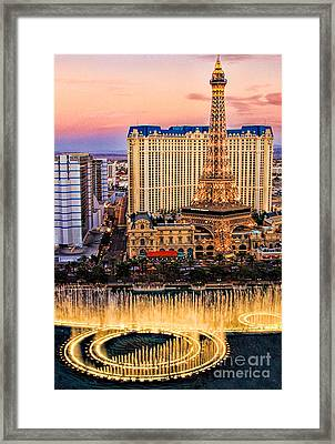 Vegas Water Show Framed Print by Tammy Espino