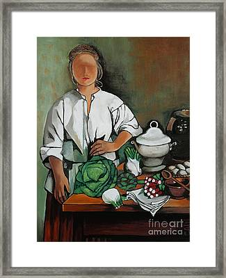 Vegetable Lady Wall Art Framed Print