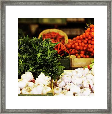 Vegetable Market: Garlic, Herbs, Chilis And Tomatoes Framed Print