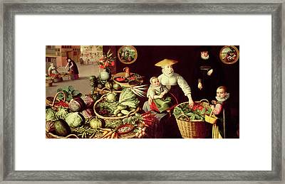 Vegetable Market Framed Print by Lucas van Valckenborch