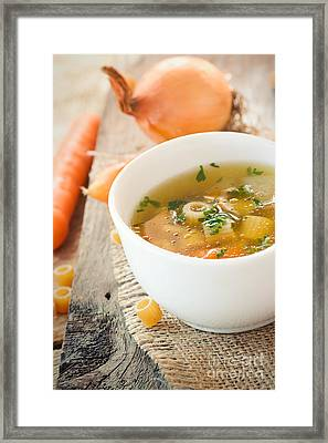 Vegetable Soup With Pasta Framed Print