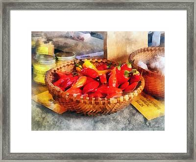 Vegetables - Hot Peppers In Farmers Market Framed Print by Susan Savad