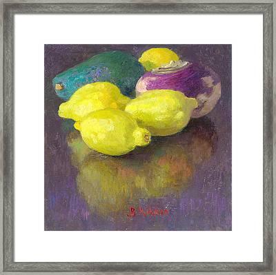 Vegetables Lemons Avocado And Turnip Framed Print by Ben Rikken