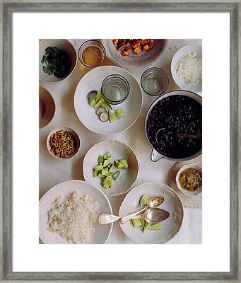 Vegetarian Dishes Framed Print by Romulo Yanes
