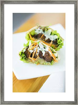 Vegetarian Falafel In Pita Bread Sandwich Framed Print