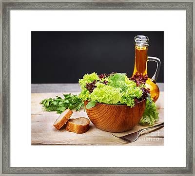 Vegetarian Salad And Olive Oil Framed Print by Anna Om
