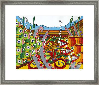 Vegetarians And Meat Eaters Framed Print by Rojax Art