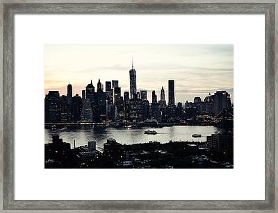 Vehement Silhouettes Of Manhattan - That Vertical City With Unimaginable Diamonds Framed Print