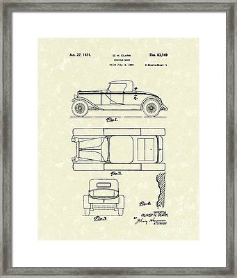 Vehicle Body 1931 Patent Art Framed Print by Prior Art Design