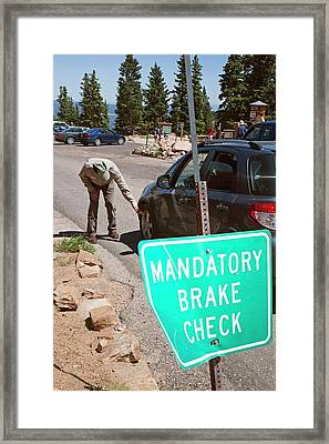 Vehicle Brakes Check Framed Print by Jim West
