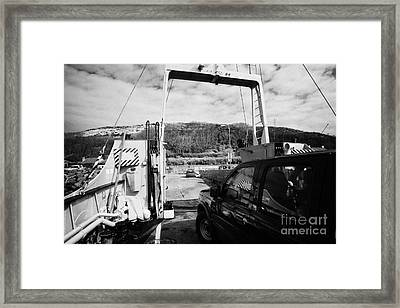 vehicle deck vehicles and vehicle loading ramp of the Caledonian MacBrayne MV Canna ferry Framed Print by Joe Fox