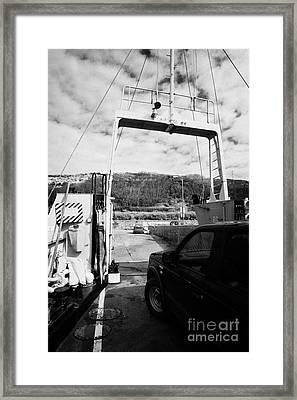 vehicle deck vehicles and vehicle loading ramp of the Caledonian MacBrayne MV Canna ferry rathlin Framed Print by Joe Fox