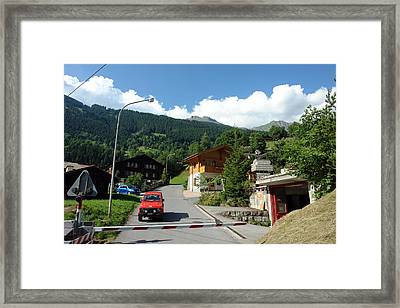 Vehicles At Traffic Intersection In Switzerland Framed Print