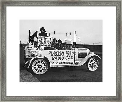 Velie Six Radio Car Framed Print by Underwood & Underwood