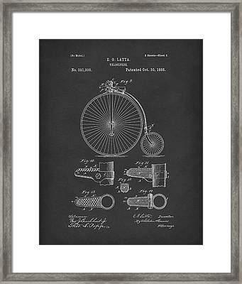 Velocipede Latta 1888 Patent Art Black Framed Print by Prior Art Design