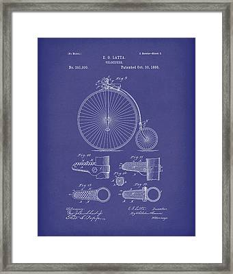 Velocipede Latta 1888 Patent Art Blue Framed Print by Prior Art Design