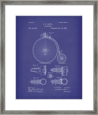 Velocipede Latta 1888 Patent Art Blue Framed Print