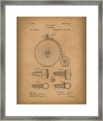 Velocipede Latta 1888 Patent Art Brown Framed Print by Prior Art Design