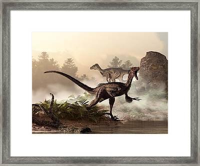 Velociraptors Prowling The Shoreline Framed Print