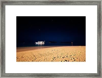 Velvet Night On The Island Framed Print by Jenny Rainbow