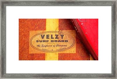 Velzy Surf Board Framed Print by Ron Regalado