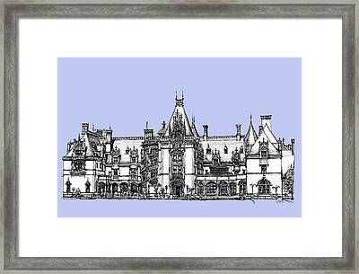 Venderbilt's Biltmore In Blue Framed Print by Building  Art