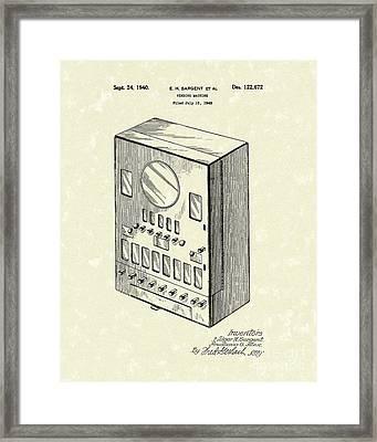 Vending Machine 1940 Patent Art Framed Print