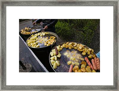 Vendor Selling Deep Fried Potatoes Framed Print by Panoramic Images