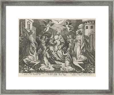 Veneration Of Mary With The Christ Child With St Framed Print by Rapha?l Sadeler (i)
