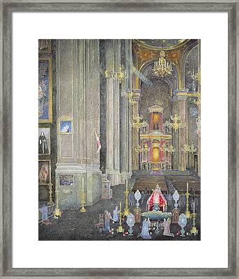 Veneration Of The Virgen Del Rosario, The Convent Of San Domingo, 2001 Oil On Canvas Framed Print