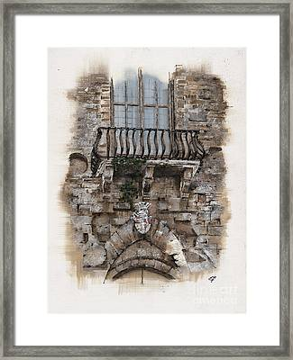 Framed Print featuring the painting Venetian Balcony 02 Elena Yakubovich by Elena Yakubovich