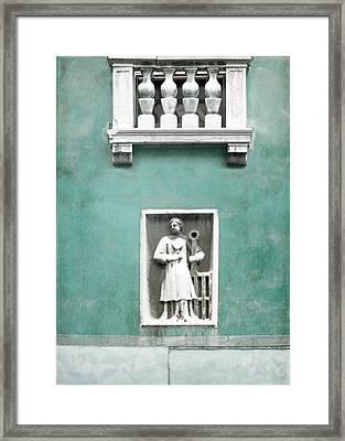 Venetian Balcony And Sculpture On Aqua Blue Green Framed Print by Brooke T Ryan