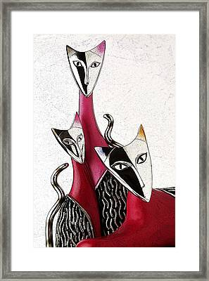 Framed Print featuring the drawing Venetian Cats by Selke Boris