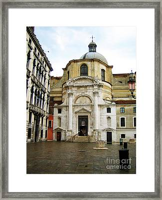 Venetian Church Framed Print by John Rizzuto
