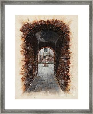 Framed Print featuring the painting Venetian Courtyard 01 Elena Yakubovich by Elena Yakubovich