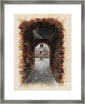 Venetian Courtyard 01 Elena Yakubovich Framed Print