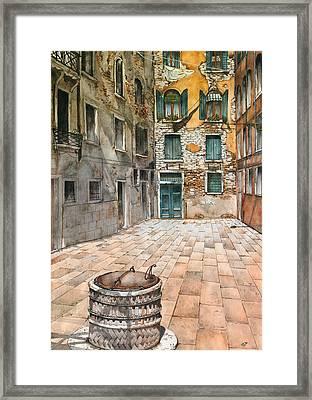 Venetian Courtyard 02 Elena Yakubovich Framed Print by Elena Yakubovich